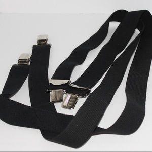 Vintage Black & Silver Clip On Stretch Suspenders